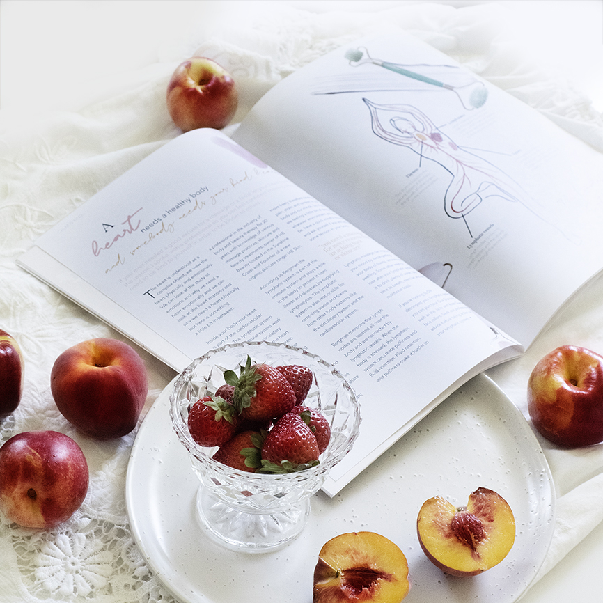 Heart Magazine Flat Lay image with peaches and strawberries